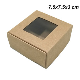 Craft Packs Australia - 7.5x7.5x3 cm Brown Kraft Paper Gifts Handmade Soap Party Foldable Packing Box with Plastic Window Kraft Paper Crafts Storage Box Party Favor
