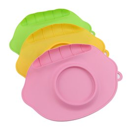 baby silicone placemat Canada - Baby Dishes Children Silicone Solid Color Plate Placemat Waterproof Antibacterial Tableware For Children Sucker Silicone Mats