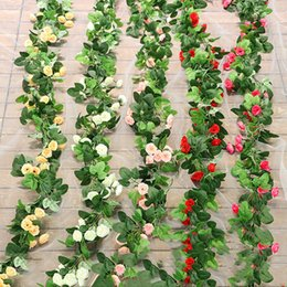 Wholesale Artificial Silk Rose Flower Wisteria Vine Rattan Hanging Flower Garland for Wedding Party Home Garden Decoration