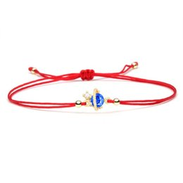 good luck string bracelet Canada - Nice Small Blue Cubic Zirconia Planet Orbit Copper Charn Bracelet Women Girl 2020 New Fashion Red String Good Luck Jewelry Gift