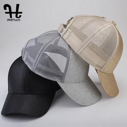 da3a91539a88b FURTALK Baseball Cap Women Ponytail Hat Messy High Bun Adjustable Plain  Trucker Cap Summer Dad Hat Sports Sequin Snapback