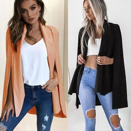 $enCountryForm.capitalKeyWord Australia - Hot Fashion Women Split Solid Slim Suit Business Blazer Long Sleeve High Street Outwear 2018 Autumn