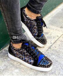 ShoeS amazing online shopping - Amazing Top quality Brands Sneaker Men Junior Spikes Orlato Red Bottom Shoes Leopard printed Denim Lurex Designer Man Walking Free Shippi