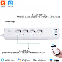 $enCountryForm.capitalKeyWord Australia - Smart WiFi Power Strip Tuya Smart App Control Type-F 4 Outlets 4 USB Ports Individually Control Alexa Google Home Compatible