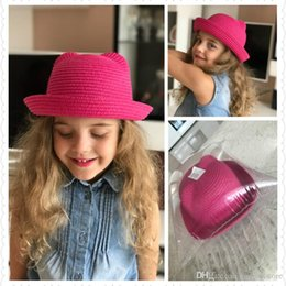 47bb47b7607 bucket hat Fashion Ears Straw Hats Baby Hats For Girls Bucket Hat Boys Cap  Children Sun Summer Cap Kids Solid Beach Panama Caps