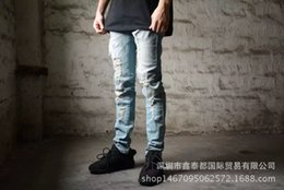$enCountryForm.capitalKeyWord Australia - Dear2019 High Street Kanye Holes Knife Cat's Whisker Bound Feet Pants Tide Male Self-cultivation Small Directly Canister Jeans
