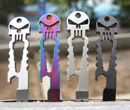 skull gadgets NZ - DHL Stainless Steel Outdoor Gadgets EDC Crowbar Keyring Chain Multi Function Titanium Skull Survival Pocket Tool Bottle Opener 75MM*20mm*4mm
