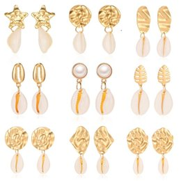 $enCountryForm.capitalKeyWord Australia - Hot Bohemia Love Shell Dangle Earrings Matted Silver Gold Plated Leaf Charms Earrings Fashionable Jewelry For Women