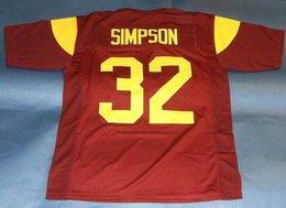 Barato retro # 32 OJ SIMPSON CUSTOM USC TROJANS JERSEY HEISMAN NS Wine Red Mens Stitching College Tamaño S-5XL Camisetas de fútbol NCAA en venta