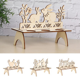 wooden animal patterns Australia - 2019NEW Wooden Happy Easter Egg Shelves Stand Rack Rooster Rabbit Pattern Home Decor DIY Ornament Party Decoration Crafts