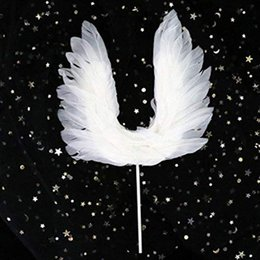 Wholesale Baking Cake Tools Lovely Angel Wings Cake Topper Decorations For kids Baby shower Birthday Party Wedding Reusable Creative Feather cake de