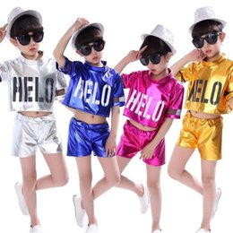 Wholesale jazz dance outfits costumes resale online - 4 Colors Girls Jazz Dance Costumes Boys Kids Hip Hop Dancing Outfits Children Stage Performance Modern Costume Tops Pants