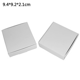 Wholesale Gift Boxes For Chocolates UK - 9.4*9.2*2.1cm White Kraft Paper Gift Packaging Box for Jewelry DIY Soap Baking Bakery Cakes Cookies Chocolate Package Packing Box 50pcs lot