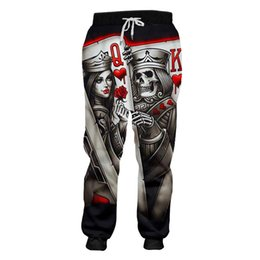 track flats Canada - Big Size S-6XL Men Women Poker 3d Joggers Pants Unisex 3D Skull Print Rap Sweatpants Street Sports Track Baggy Trousers Custom