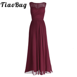 empire style wedding gowns NZ - Tiaobug Women Ladies Chiffon Empire Lace Bridesmaid Dress Prom Gown Sleeveless A-line Pleated Padded Long Wedding Party Dresses J190430