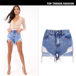 $enCountryForm.capitalKeyWord Australia - Irregular Hole Street Style Jeans Shorts Fashion Button Zipper High Waist Short Pants Sexy Female Clothing