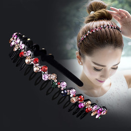 Brilhante luxo strass faixa de cabelo de alta qualidade diamante aro de cabelo acessórios para mulheres headbands de cristal ornamentos em Promoção