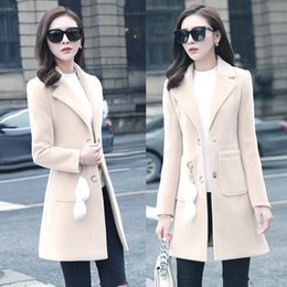 Wholesale pink trench coats resale online - Women Winter Korean Style Pink Long Wool Blend Trench Coat Ladies Fashion Windbreaker Clothes Plus Size XL
