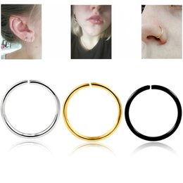 Indian Nose Piercing Australia - 1 Pc Surgical Steel 20G Nose Rings Cartilage Earrings Fake Septum Indian Nose Piercing Hoop Piercing Labret Body Jewelry