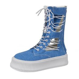 Canvas Hiking Shoes Australia - The high quality Fashion Denim canvas shoes high top platform shoes women sneakers hiking shoes size 35-40