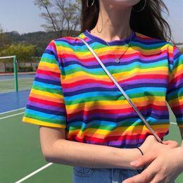 Discount korean shirt style for women - Summer Clothing Woman Tshirt Top 2019 Korean Style T-shirts Ulzzang Harajuku Rainbow Striped Short Sleeve T-shirt For Wo