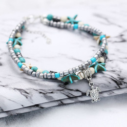 China Metal Alloy Turquoise Anklets Double Conch Starfish Beach Palm Turtle Foot Chain Ethnic Style Ornaments Portabble 2 2zx BB suppliers