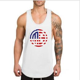 39bb0219507a83 2019 New Brand Cotton Sportswear Sleeveless stringer Singlet Bodybuilding  vest Muscleguys Gym Vest tank top Plain colour FLAG Pattern
