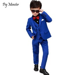 Wedding Vest Pink Australia - Brand Flowers Boys Formal Suit Wedding Campus Student Dress Gentleman Kids Jacket Vest Pants Bowtie 4pcs Ceremony Costumes F158 Q190604