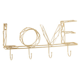 Wall letters art online shopping - Key Holder Entryway Organizer Solid Bedroom Office Home Easy Install Wall Mounted DIY Hanging Letter Decorative Iron Art Storage