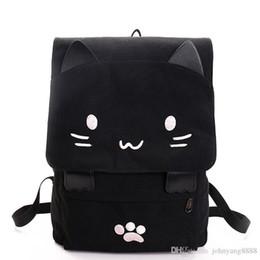 Chinese  Cute Cat Canvas Backpack Cartoon Embroidery Backpacks For Teenage Girls School Bag Casual Black Printing Rucksack Mochilas XA69H manufacturers