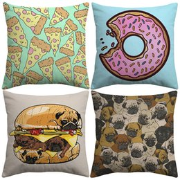 $enCountryForm.capitalKeyWord NZ - Japanese Style Hand Painting Pug Dog Cushion Covers Cake Hamburger Donut Pizza Cushion Cover Decorative Linen Cotton Pillow Case