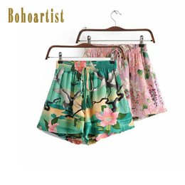 Wholesale Bohoartist Women Short Pants Beach Floral Print Green Loose Stylish Summer Chic Holiday Bohemian Drawstring Shorts For Girls