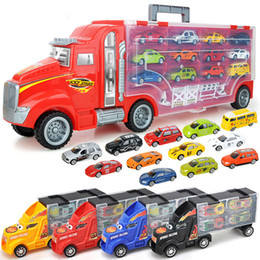 Big Storage Boxes Australia - Container Car Model Set Toys For Children Big Trailer Truck Storage Box Alloy Diecast Model Car Speed Wheels Holiday Gifts 1:24