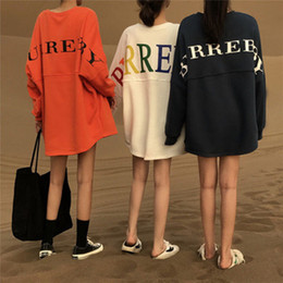 Wholesale women's thick sweaters resale online - New Korean version of ins languidly wind sweater in women s long sleeves bestie bf harajuku loose thin