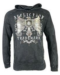 AFFLICTION Camisa de hombre SUDADERA CON CAPUCHA TRATEADA Biker MMA UFC $ 84 en venta