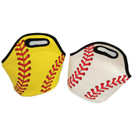 Cool tote lunCh bag online shopping - Neoprene Baseball Lunch Bag Sports Softball Tote Insulated Cooler Bags Unisex Food Carrier Storage Bags Waterproof Handbag GGA1719