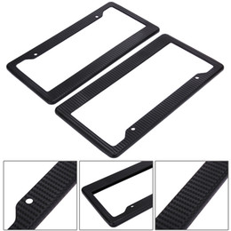 license plate screws UK - New 2pcs Black Aluminum Alloy Car Auto Vehicles License Plate Frame Tag Cover Holder With Screw Caps Car Styling