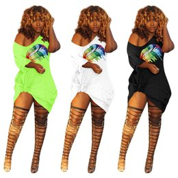 women pocket t shirts wholesale Canada - Women Off Shoulder Big Lips Sexy Dress Lovely Rainbow Printed Summer Short Sleeve T Shirt Skirt With Pocket Fashion Club Wear Dresses C41201