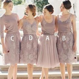 017239637 2019 mal emparejado de encaje corto barato púrpura vestidos de dama de honor  en línea diferentes estilos del mismo color de fiesta vestidos de fiesta ...
