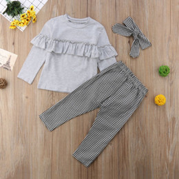 toddler girl ruffle leggings NZ - Toddler Kids Baby Girl clothes Ruffle long sleeve Tops + plaid Pants Leggings +headband 3Pcs Outfits Clothes set