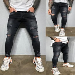 plus size destroyed jeans NZ - Ripped Hole Jeans For Men Black Skinny Denim Pencil Pants Pantalones Slim Fit Jean hombre Streetwear Destroyed Denims Plus Size