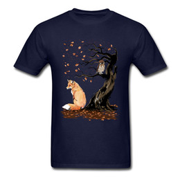 $enCountryForm.capitalKeyWord Australia - Winds Of Autumn Tee Shirt Art Design T-shirt Men Tshirts Owl & Fox Print Tops Tees Birthday Gift Clothes Custom Cotton Sweaters