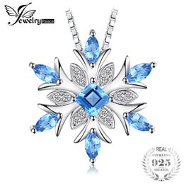 Topaz Pendants Australia - Jewelrypalace 925 Sterling Silver Pendant Pendants Necklace Snowflake Swis Blue Solid Fine Jewelry For Women Without Chain J190525