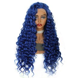 $enCountryForm.capitalKeyWord NZ - Free Part Long Kinky Curly lace frontal wig blue Blonde Purple Pink Orange Black High Temperature Fiber Synthetic Lace Front Wig For Women