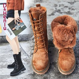 Womens Lace Up Knee Boots Australia - 2019 Winter Boots With Fur Women Lace Up Boots high 2018 Womens Shoes Genuine Leather Mid Calf Boot Leather Non Slip botas mujer