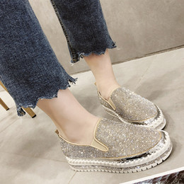 black platform court heels Australia - Rimocy loafers shoes women luxury silver crystal slip on platform casual shoes woman shinning bling solid black flat heels shoes SH190930