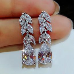 Fashion Female Crystal Leaf Drop Earrings 925 Sterling Silver White Diamond Earrings Boho Wedding Jewelry Long Dangle Earrings on Sale