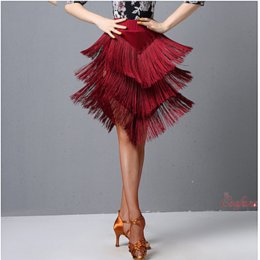 Wholesale ballroom dance skirts practice resale online - Latin Dance Practice Clothes Women Ballroom Dance Clothes Modern Practice Middle Sleeved Printed Tops Fringe Skirt