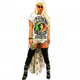 $enCountryForm.capitalKeyWord Australia - Fashion High Low T Shirt Dress 2019 Summer Women Short Sleeve O Neck Letter Printed Rock Punk Front Short Back Long Casual Dress