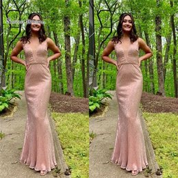 petite wedding gown pink Australia - 2019 Blush Pink Jewel Mermaid Sequined Prom Dress High-end Customed Made Vestidos De Novia Party Gown